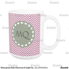 Monogram Pink Chevrons & Light Sage Coffee Mug