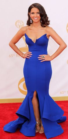 Rocsi Diaz, sexy in a blue Michael Costello mermaid gown at the 2013 Emmy Awards