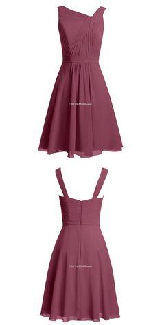 2018 New Short Purple Chiffon Bridesmaid Dresses Ruffles Short Prom/Homecoming/Party Dress  #shortbridesmaiddress