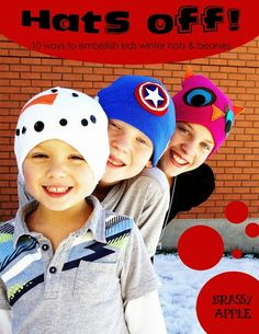 DIY embellished kids winter hats - brassyapple.com  sewing Crazy Hat Day 1eb2f9b20c35