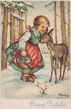 Ilustración postal navidad niña.