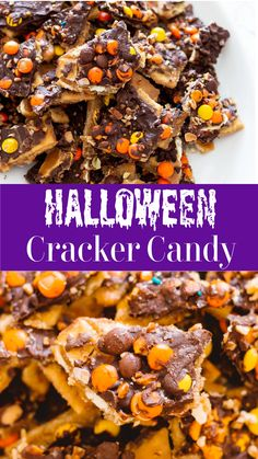 The ultimate Halloween and fall season treat made with your favorite candy! This is an easy cracker candy recipe that has a saltine toffee base. Made with reese's pieces and chocolate morsels, you'll enjoy all your fall favorite tastes in every bite!#crackercandy #chocolatebark #candy #bark | recipesworthrepeating.com Easy Candy Recipes, Easy Desserts, Holiday Recipes, Delicious Desserts, Dessert Recipes, Yummy Food, Holiday Treats, Fall Recipes, Pasta Recipes