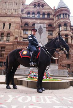 https://flic.kr/p/5Bm9d2 | Spurs of 'Vimy Ridge' | Toronto, Canada.  Staff Sargent Tim Crone holds the spurs his grandfather wore to battle at Vimy Ridge in WW1. He poses together with his horse companion police mount 'Vimy Ridge.' The photo was taken in front of the Cenotaph at Old City Hall on November 11, 2008.  --------------------------------------------- Info credit: www.flickr.com/photos/annedehaas/3023563553/