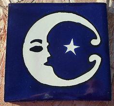 "10~Talavera Mexican 4"" tile pottery Astronomy Cobalt Night Blue White Moon Star"