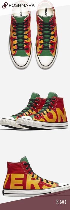 Converse Chuck Taylor All Star High Wordmark Shoes Converse Chuck Taylor All Star High Top shoes enamel red/yellow/green unisex. Size 10.5 men's and size 12.5 women's. Brand new in box no trades Converse Shoes Sneakers