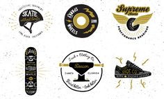 Hand Drawn Logos: Skateboard Pack includes 6 logo templates (PS and AI versions). Easy to edit with your own text, in minutes you're making your own logos. Only $9