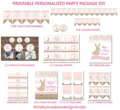 Some Bunny First Birthday, Gold Glitter, Pink, Personalized Party Package, DIY DIGITAL FILES