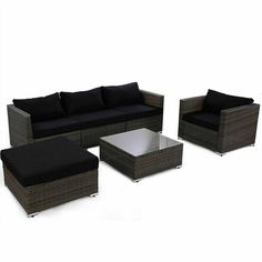 6 pcs Patio Rattan Wicker Sectional Furniture Set w/ Black Cushion - Outdoor Furniture Sets - Outdoor Furniture - Furniture Black Rattan Garden Furniture, Outdoor Wicker Furniture, Patio Furniture Sets, Outdoor Sofa, Outdoor Living, Furniture Layout, Pallet Furniture, Outdoor Spaces, Furniture Ideas