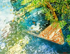 "boat full of sky 22"" x 30"" riddell bay bda  micheal zarowsky / watercolour on arches paper / (private collection)"