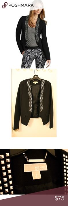 Black studded blazer- brand new never worn Get edgy style with this square studded jacket from Michael Michael Kors. Featuring an open front, long sleeves and side flap faux pockets, this hip jacket looks great with Ponte pants and boots for a free-spirited, weekend look. Michael Kors Open front Long sleeves Square studded detailing Faux flap pockets Approximate measurements from shoulder to hem for size 4: 22 Sleeve length: 23 Polyester/viscose/rayon MICHAEL Michael Kors Jackets & Coats…