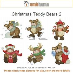 Christmas Teddy Bears 2 Holiday Animals Machine Embroidery Designs Instant Download 4x4 hoop 10 designs APE1527