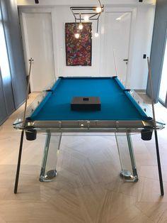 Impatia's Filotto pool table meet arts inside a gallery owner house in Lebanon.  #pooltable #biliard #art #interiors #inspiration #blue #light #luxury #furniture #glass #custom