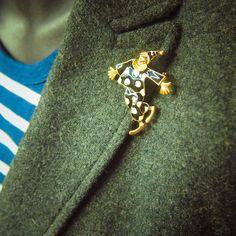 Polka Dot Clown Brooch antique vintage styled, bridesmaid, rhinestone diamante, wedding, mothers gift, men lapel, enamel, hijab #5151