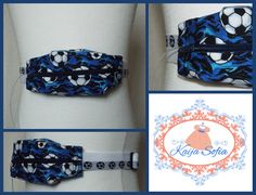 Insulin pump belt made with blue football fabric and by KaijaSofia