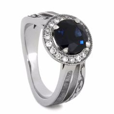 Blue Sapphire Engagement Ring with Halo Setting and Meteorite.