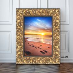 Wide, gold frame with elegant beach embellishments. Fun touch to beach house decor or bringing an ornamental look to beach photos.