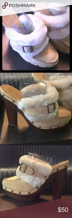 Authentic Ralph Lauren high heel  slip ons High heeled slip in clogs. Tan suede with white fur lining. Soft. Great condition as you can see by pictures. I love shoes, take care of them and keep them stored in a box. Ralph Lauren Shoes Heeled Boots