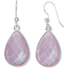 Liz Claiborne Purple Stone Silver-Tone Shimmer Teardrop Earrings ($6.39) ❤ liked on Polyvore featuring jewelry, earrings, stone jewellery, tear drop earrings, liz claiborne, teardrop shaped earrings and liz claiborne jewelry