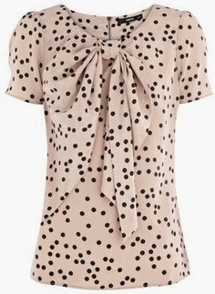 Add a ladylike touch to your work wardrobe or eveningwear with this spot print, bow front top from Oasis. Style it with an on-trend pencil skirt and heels. Mode Style, Style Me, Oasis Style, Retro Mode, Mode Outfits, Work Attire, Cute Tops, Women's Tops, Modest Fashion