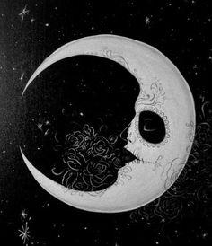 Crescent Moon Tattoo Art with Sugar Skull Influence Tattoo Sonne Mond, Tattoo Mond, Memento Mori, La Muerte Tattoo, Los Muertos Tattoo, Lapin Art, Frida Art, Sugar Skull Design, Pretty Tattoos