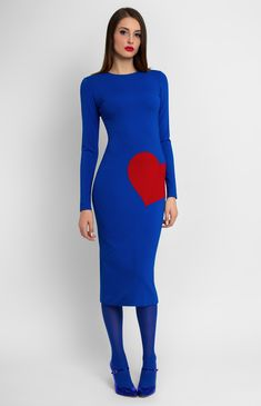 Long-sleeve close-fitting knitted dress with a red heart on a thigh. Hidden back zip closure. Without pockets and unlined. #Pintel