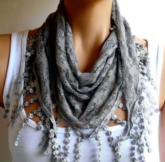 Grey Cotton Scarf, Gray Lace Bandana, Women Scarf, Gray Lace Scarf, Lace Bandana, Scarf, Gray Scarf, Womens Accessories, Christmas Gifts   Gray color. Lace Scarf. 100% cotton and organic fabrics. Very soft, smooth texture. Multi-purpose, scarves, pareos, bandanas. This can be used. The colors are spectacular. Summer and winter. For months, this is ideal. Other colors are available. Leopard, authentic Turkish motifs, ethnic, boho scarves there.  You can safely use the beach and in the pool…