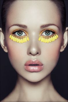 yellow petal make up, editorial beauty