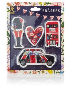 Complete with palace guard, retro car, red bus and heart, our London erasers will make for a fun addition to your stationery collection. Floral prints add an...