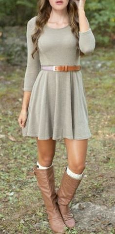 Looks I LOVE! Chic 3/4 Sleeve Scoop Neck Pure Color A-Line Dress For Women #Over_the_Knee #Boots #Boot_Socks #Styling #Ideas