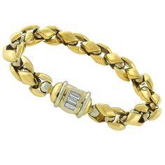 Estate_0.50ct_Baguette_Cut_Diamond_18k_Yellow_&_White_Gold_Bracelet | New York Estate Jewelry | Israel Rose