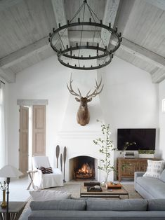 Transitional white living room with vaulted, planked ceiling, oversized candelab. Transitional white living room with vaulted, planked ceiling, oversized candelab… – – Cozy Living Rooms, Living Room Interior, Home Living Room, Living Room Designs, Living Room Decor, Living Spaces, Room Furniture Design, Living Room Furniture, Cozy Furniture