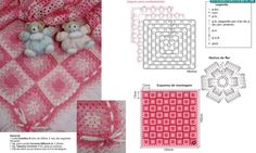 Cinco nuevos motivos para hacer mantas | Mi Rincon de Crochet Crochet Motifs, Crochet Diagram, Afghan Crochet Patterns, Crochet Squares, Crochet Stitches, Crochet For Kids, Diy Crochet, Plaid Au Crochet, Granny Pattern