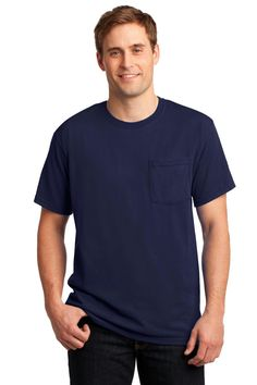 JERZEES - Dri-Power Active 50/50 Cotton Poly Pocket T-Shirt. 29MP