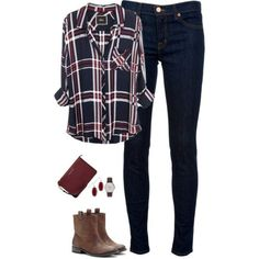 Deep red & navy by steffiestaffie on Polyvore featuring J Brand, Sole Society, MICHAEL Michael Kors, J.Crew and Kendra Scott