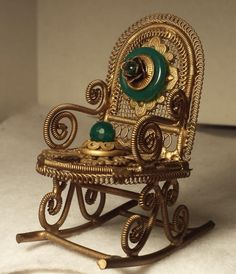 Jo Marz Filigree Miniature Rocking Chair One of a Kind Handcrafted Masterpiece by Foundtreasures4you on Etsy