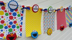 Baby's 1st Year Photo Banner, Sesame Street, Cookie Monster photo banner, monthly photo banner, Elmo banner by SweetBugABoo on Etsy https://www.etsy.com/listing/289015013/babys-1st-year-photo-banner-sesame