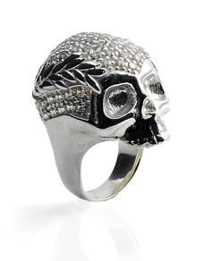 Protruding from the finger to the height of 2.3cm this Vivienne Westwood New Skull ring has Swarovski crystals encrusted into the crown of the skull.