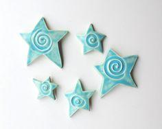 Cerulean Blue Ceramic Stars Stars Ceramic Wall by acosmicmermaid