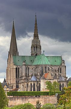 This is an image of The Cathedral of Our Lady of Chartres which is one of the finest example in all France of the Gothic style of architecture.You can see the contrasting two spires of the cathedral,the taller one was built about 500 years later then the other.