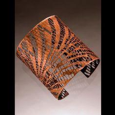 Karen Clark - Pierced copper cuff, Rollprinted,oxidized and pierced copper, wide Funky Jewelry, Gypsy Jewelry, Brass Jewelry, Jewelry Crafts, Jewelry Art, Jewelry Design, Artisan Jewelry, Handcrafted Jewelry, Karen Clark