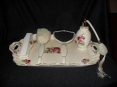Antique Porcelain Perfume Trays | Antique Vintage Vanity Set / Hand Mirror / Hair Brush / Tray / Perfume ...