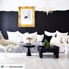 I think anyone interested in interior inspiration would have seen this pic by @dianaousdal. Who would have thought that an unfinished black wall could look this good. A total success and very cool! #inspiration #inspirasjon #design #design123 #interior #interiør #interiordesign #blackandwhite #paint