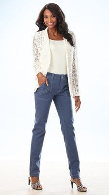 Crochet Jacket - This unlined jacket with snap closure is great thrown over anything! Pair it with your favorite dress or jeans to completely transform the look.  #lelspring
