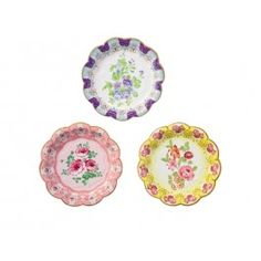 Floral Plates- pack of 12 £3.50