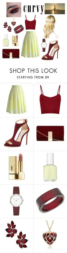 """curvy"" by blerina-ylli on Polyvore featuring Chicwish, Jimmy Choo, Dorothy Perkins, Yves Saint Laurent, Essie, DKNY and INC International Concepts"