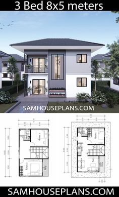 House Plans Idea with 3 Bedrooms - Sam House Plans 3 Bedroom Houses For Rent By Owner Two Story House Design, 2 Storey House Design, Simple House Design, House Front Design, Modern House Design, House Layout Plans, My House Plans, Family House Plans, House Layouts