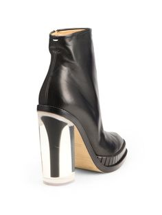 MAISON MARTIN MARGIELA Black Leather Plexiheel Ankle Boots in black or pink: