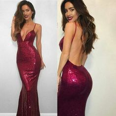 Spaghetti Burgundy Sequin Sexy V-neck Long Mermaid Backless Prom Dresses, PD190440