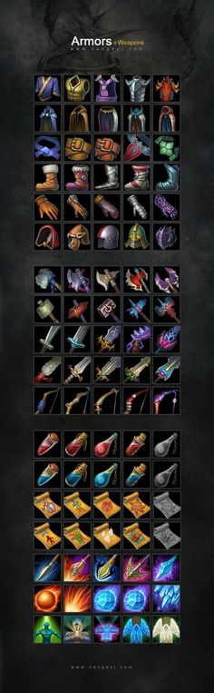 Для каждого элемента брони и оружия нужно будет сделать интерфейсную иконку. Всего наборов 24 по 8 элементов. Т.е. 192 иконок. Размеры иконки 100x100.