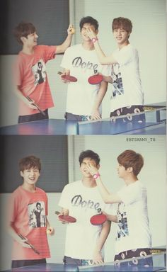 bts in thailand- jin, jungkook and rapmon playin table tennis. sometimes I forget how young kookie is and then again I see pictures like this